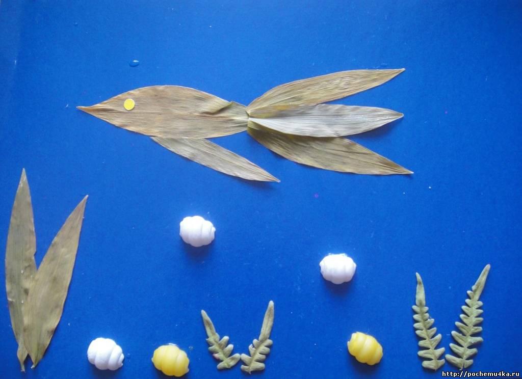 Поделка на картоне из природных материалов