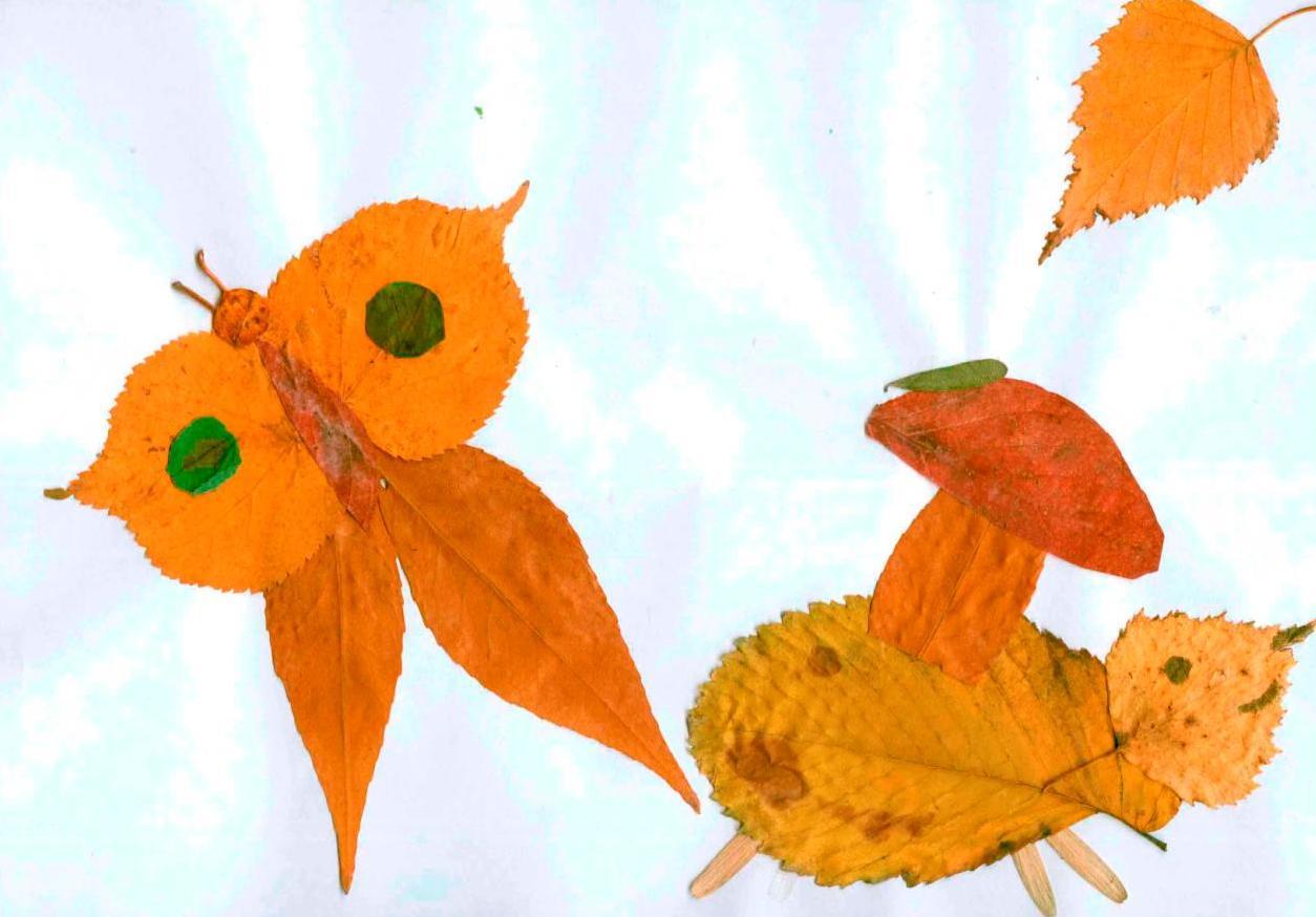 Аппликация из осенних листьев для детей 5-6 лет фото