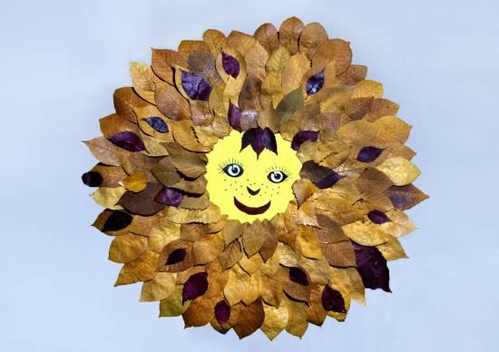 Солнце из листьев поделка