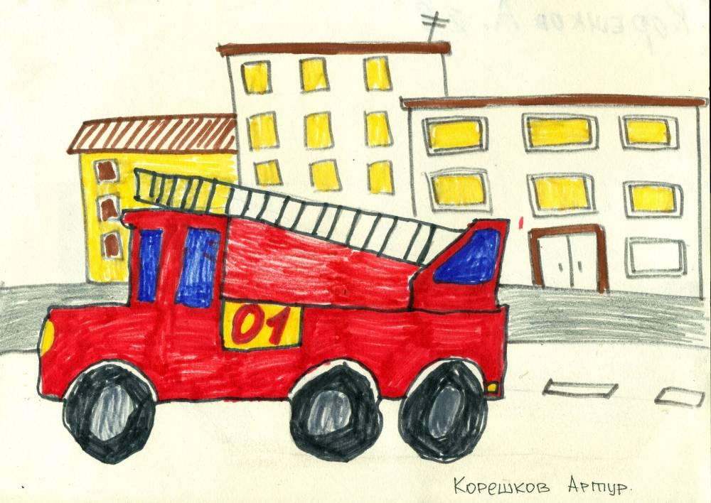 Рисование пожарной машины в подготовительной группе стен