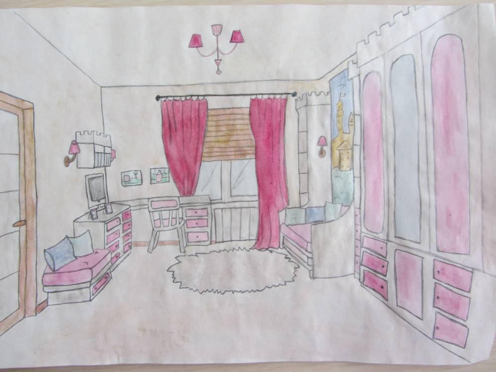 Картинки моя комната рисунок карандашом растопленное масло