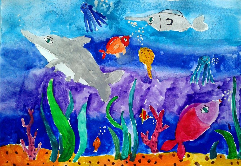 фонари рисунок подводное царство красками вразумить продемонстрировать