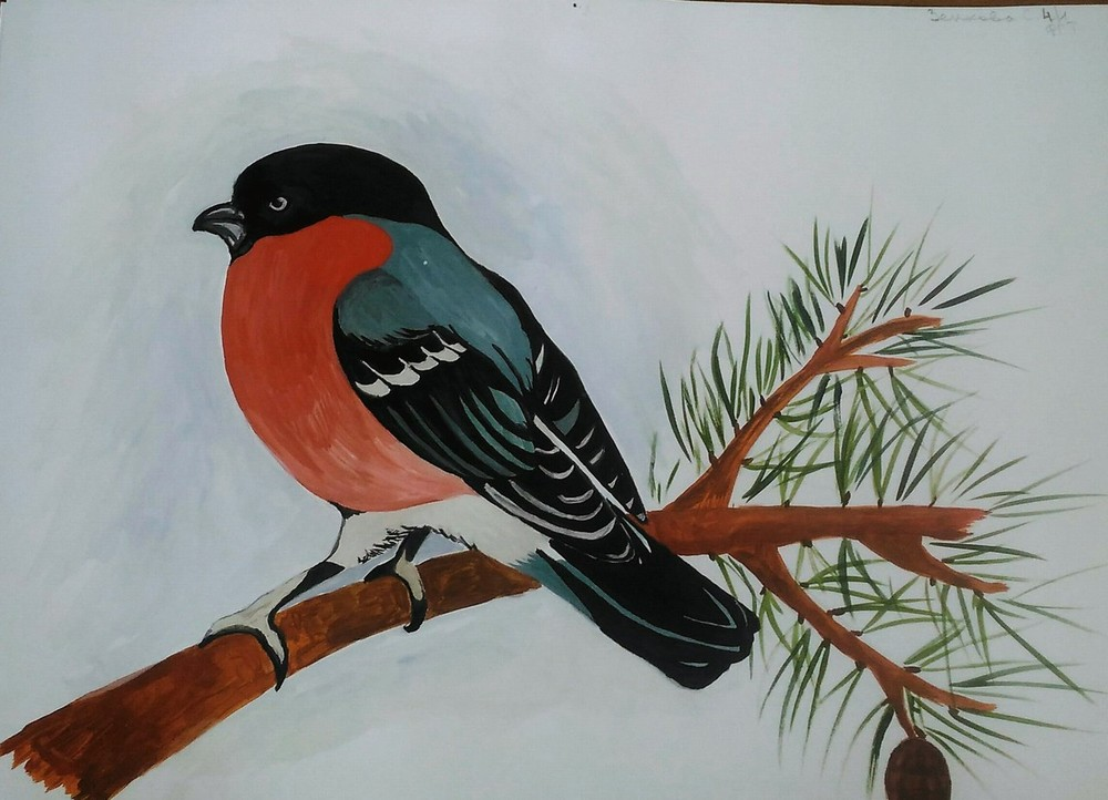 птица на ветке рисунок красками чёрного