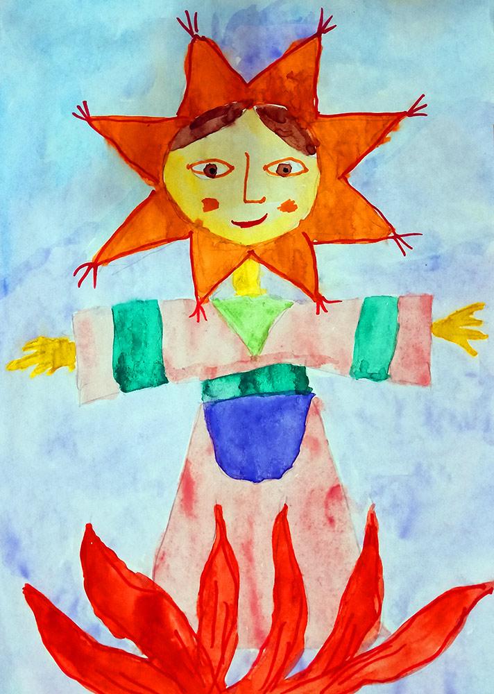 Детские рисунки чучело масленицы